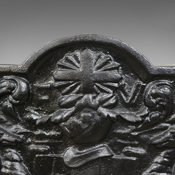 Cast Iron Fire Back, Early 20th Century, Coat of Arms, English, Heavy - London Fine Antiques