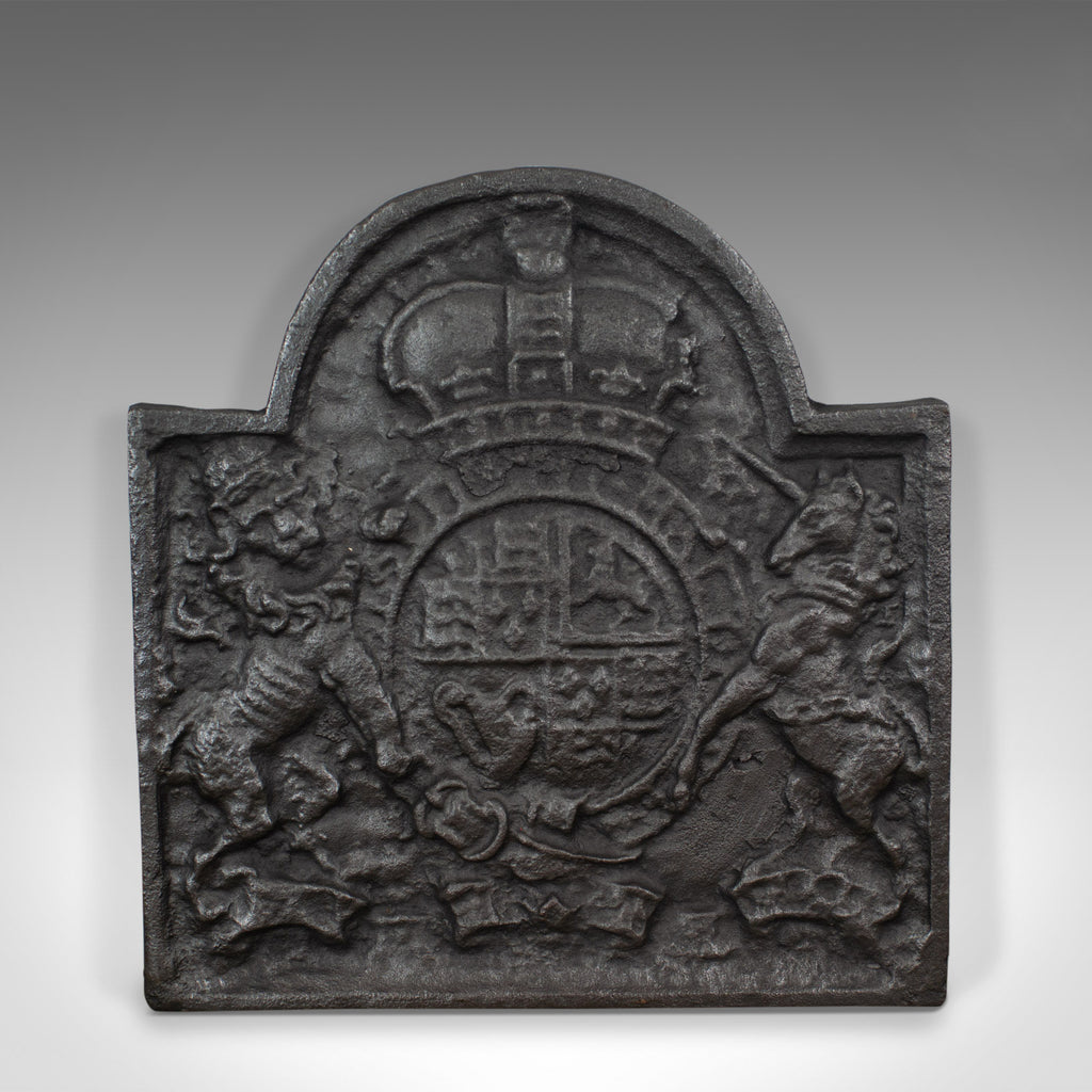 Cast Iron Fire Back, Royal Crest, English, Heavy, Plate, Fireplace, 20th Century
