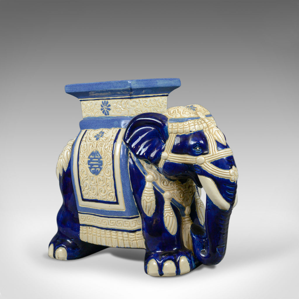 Ceramic Elephant Plant Stand, Garden Companion Table, Mid-Late 20th Century - London Fine Antiques