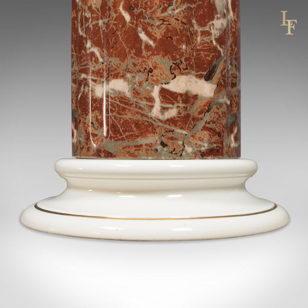 Ceramic Pedestal with Rouge Marble Effect Finish, Late C20th Plant Stand - London Fine Antiques