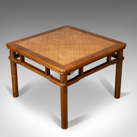 Chinese Elm and Rattan Coffee Table, Side, Lamp, Late 20th Century