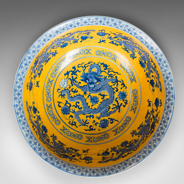 Chinese Porcelain Bowl, Dragons, Blue, White and Yellow, Late 20th Century - London Fine Antiques