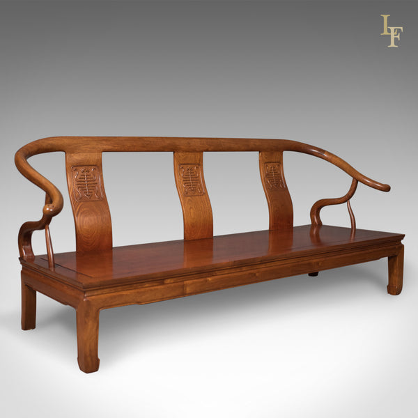 Chinese Rosewood 3 Seater Bench in Traditional Form Dating to Late 20th Century - London Fine Antiques