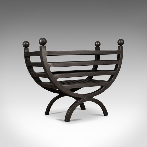 Contemporary Fire Basket, English, Fireplace Accessory, Iron Grate - London Fine Antiques