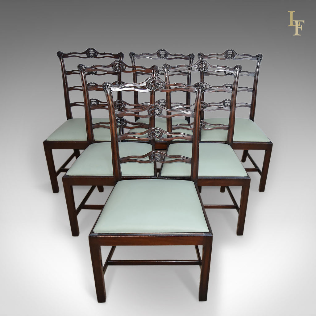 Antique Dining Chairs, Set Of Six, Victorian Chippendale Revival - London Fine Antiques