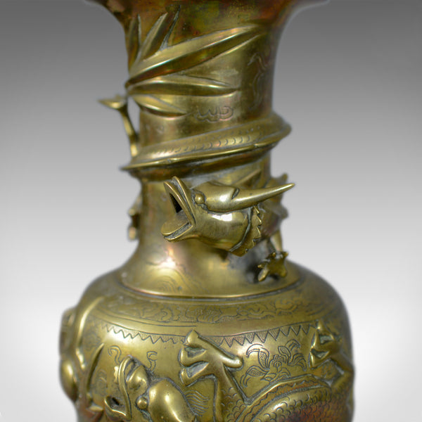 Decorative Pair of Chinese Vases in Bronze, Dragons, 20th Century Oriental Art - London Fine Antiques