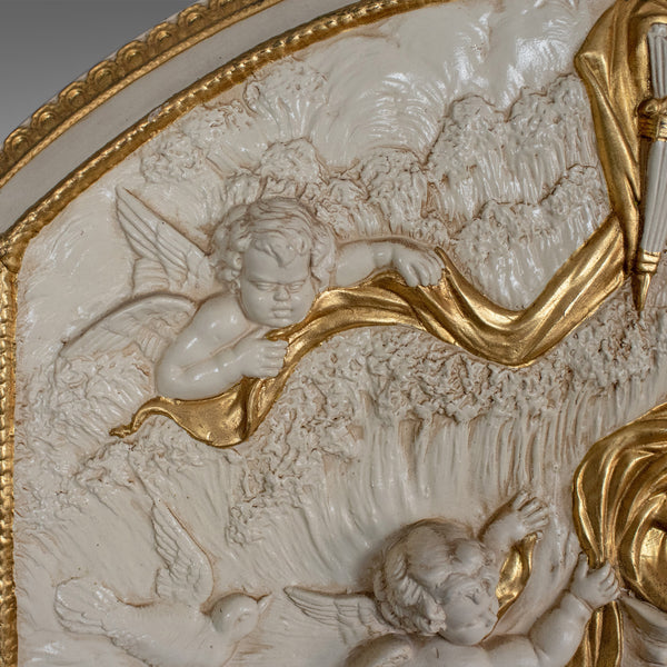 Decorative Panel, Plaster Relief, Female with Putti, Plaque, Late 20th Century - London Fine Antiques