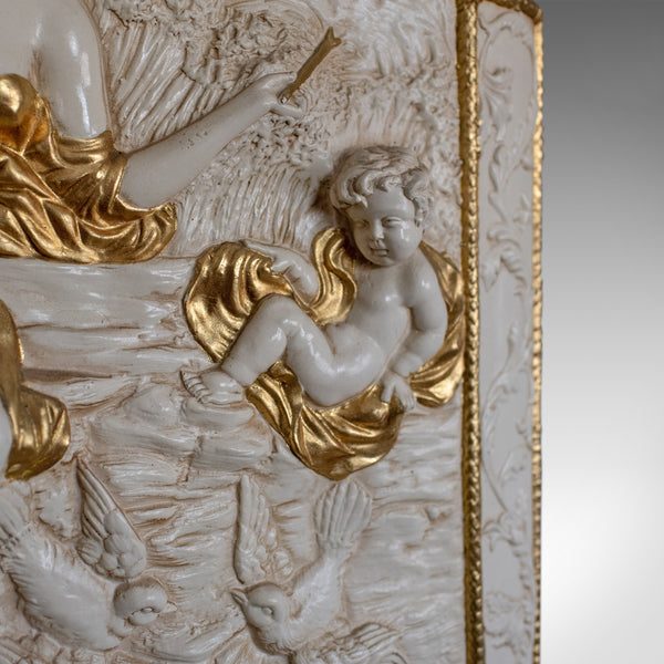 Decorative Panel, Plaster Relief, Female with Putti, Plaque, Late 20th Century