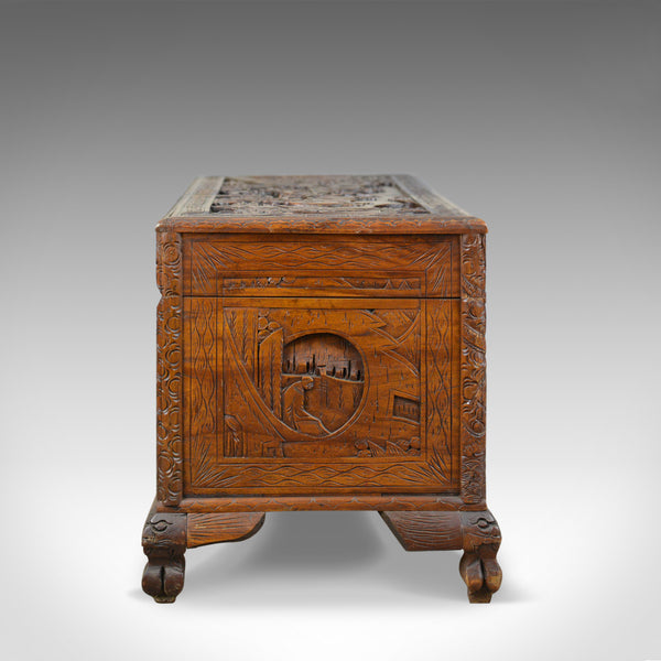 Early 20th Century Camphor Wood Chest, Oriental, Carved Scenes, Trunk c.1930 - London Fine Antiques