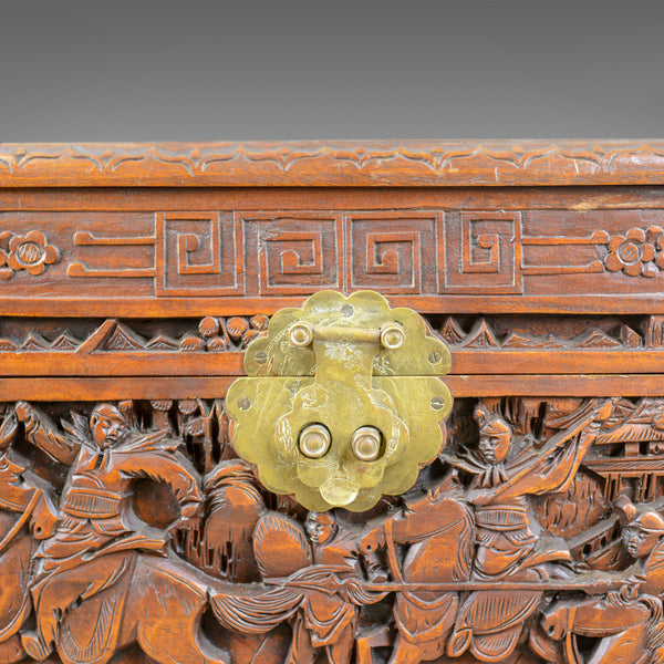 Early 20th Century Camphor Wood Chest, Oriental, Carved Scenes, Trunk c.1930