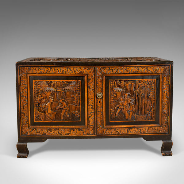 Early 20th Century Camphor Wood Chest, Oriental Carved Trunk - London Fine Antiques