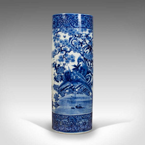 20th Century Vintage Umbrella Stand, Japanese, Blue & White, Ceramic Stick Pot - London Fine Antiques