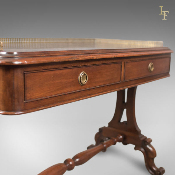 Early Victorian Antique Writing Library Table, Mahogany, English c.1840 - London Fine Antiques