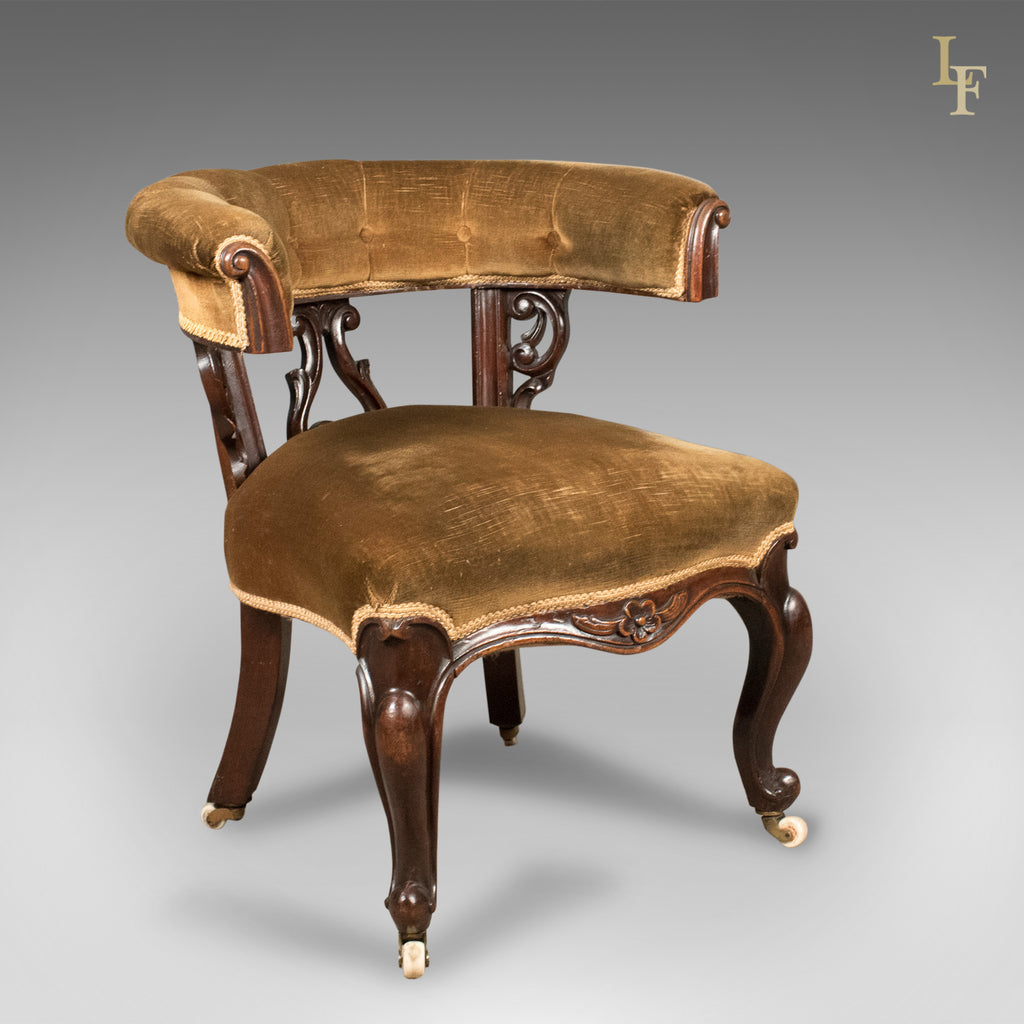 Early Victorian Bow Back Armchair, English Walnut Reading Chair c.1840