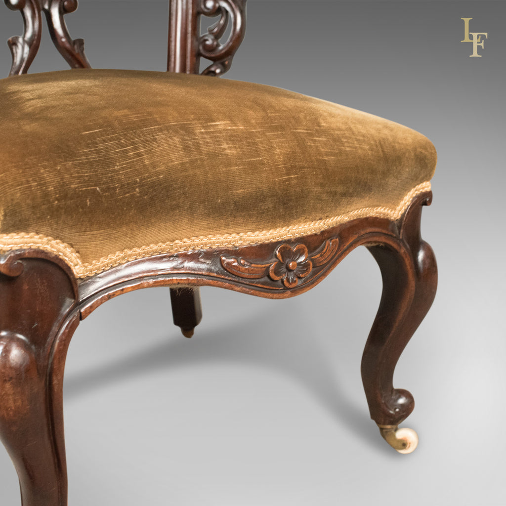 Early Victorian Bow Back Armchair, English Walnut Reading