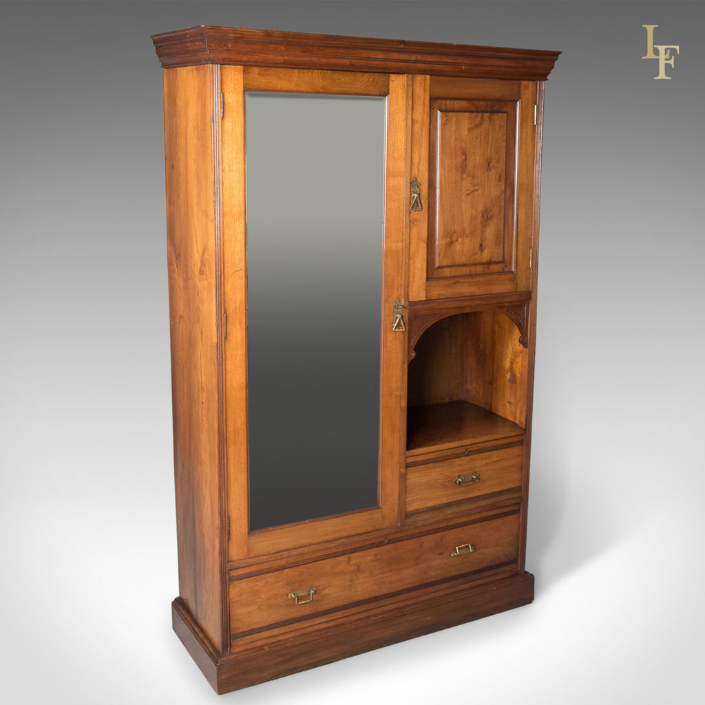 Edwardian Antique Beaconsfield Wardrobe, English, Walnut, c.1910 - London Fine Antiques