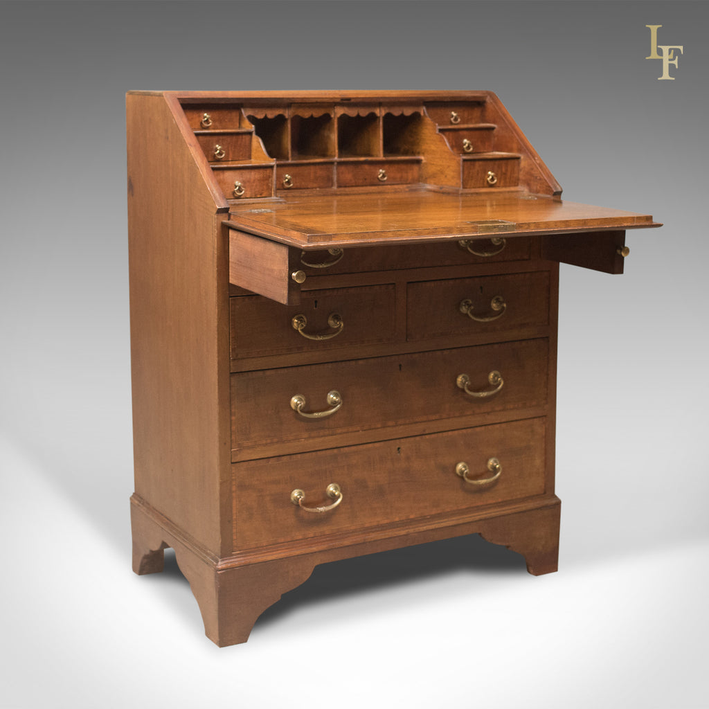 edwardian antique bureau mahogany oak english desk. Black Bedroom Furniture Sets. Home Design Ideas
