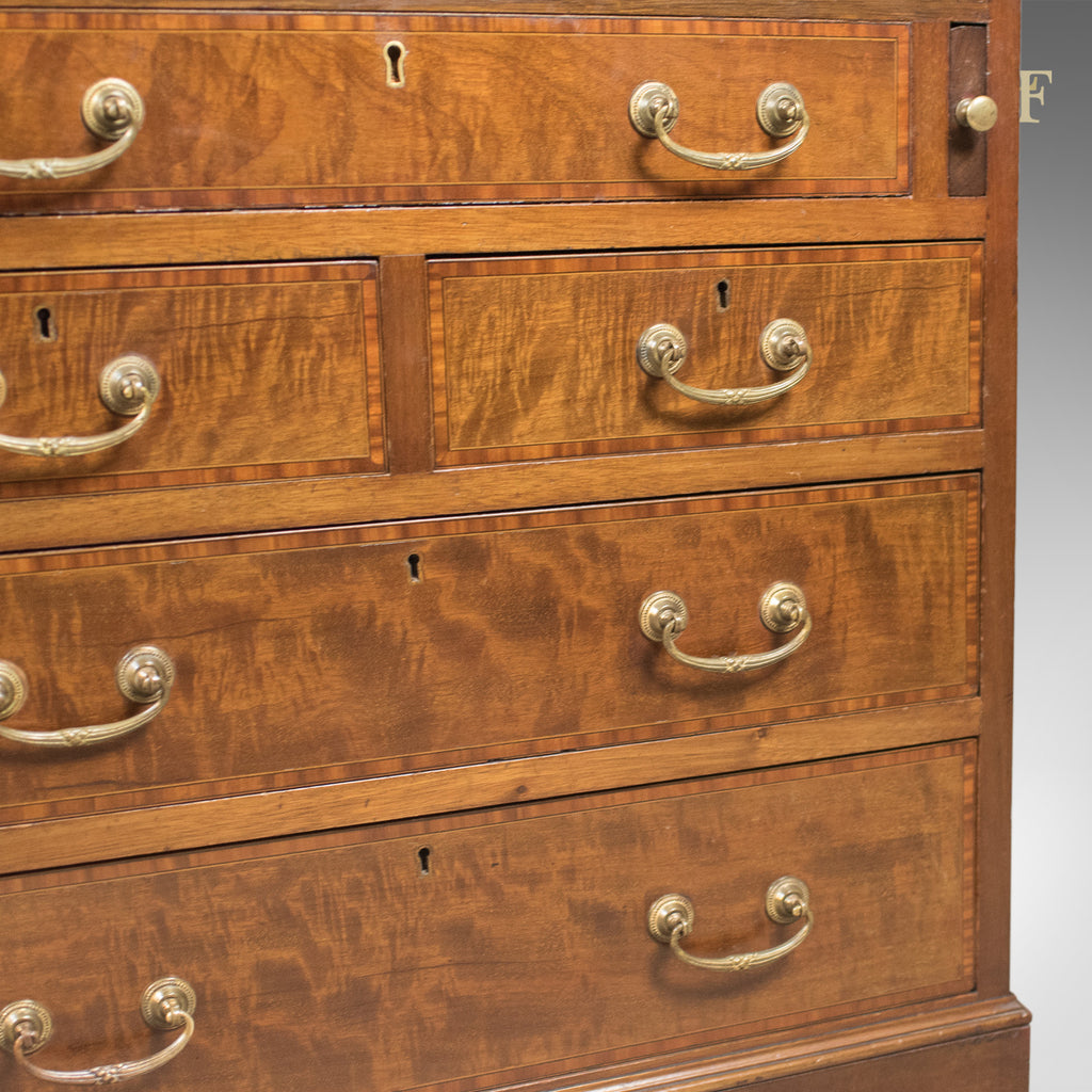 Edwardian antique bureau mahogany oak english desk for Antique bureau knobs