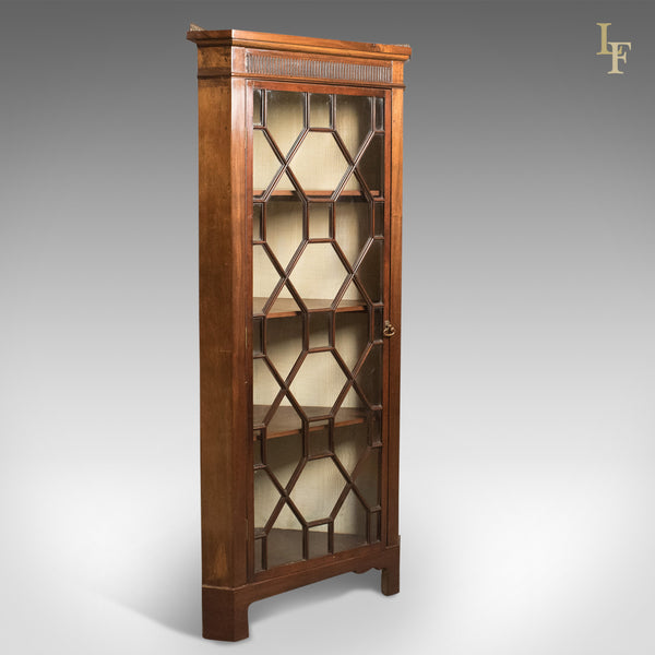 Edwardian Antique Glazed Display Corner Cabinet, English c.1910