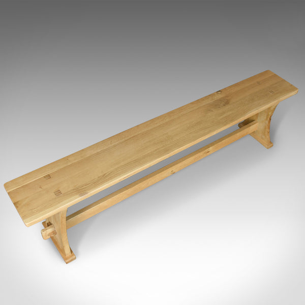 English Oak Bench in Victorian Taste, Long, Four Seater Kitchen Form, Late C20th