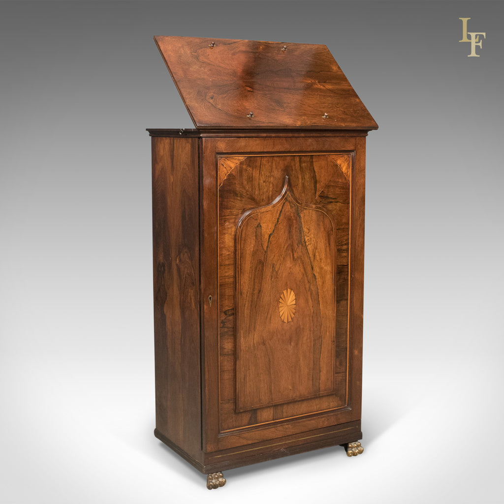 English Regency Antique Music Cabinet with Stand, Rosewood c.1820