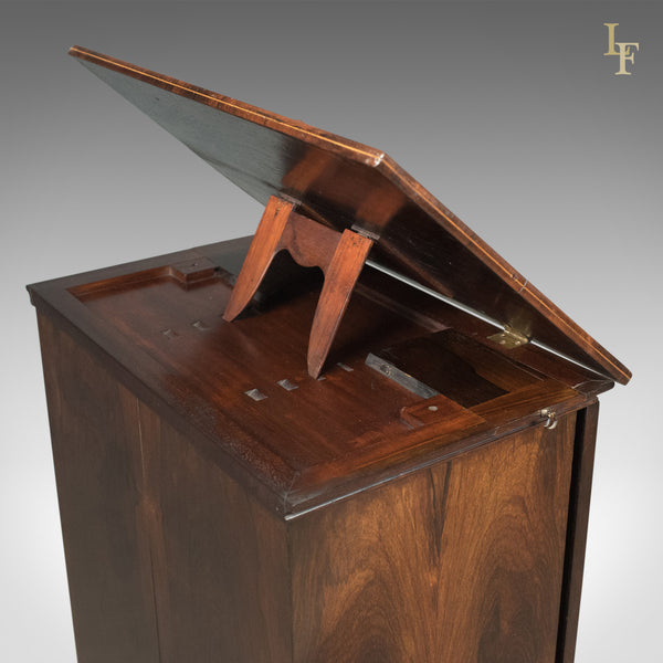 English Regency Antique Music Cabinet with Stand, Rosewood c.1820 - London Fine Antiques