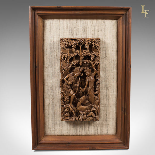Framed Balinese Carved Wall Panel, Mid-Century Decorative Art - London Fine Antiques
