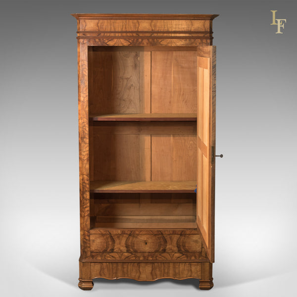 French Antique Armoire, 19th Century Wardrobe Burr Walnut - London Fine Antiques