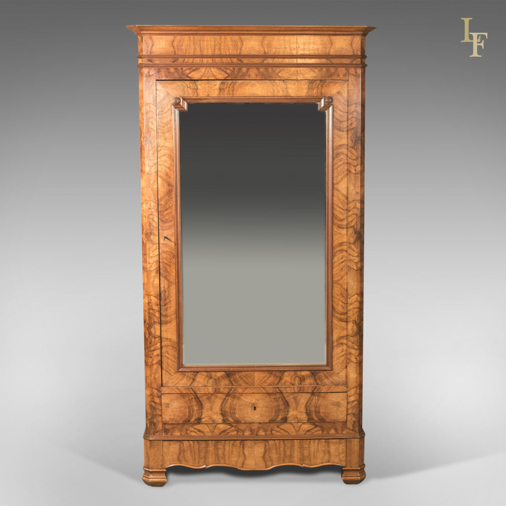 ... French Antique Armoire, 19th Century Wardrobe Burr Walnut   London Fine  Antiques ...