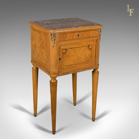 French Antique Bedside Cabinet, Marble Top Nightstand c.1890 - London Fine Antiques
