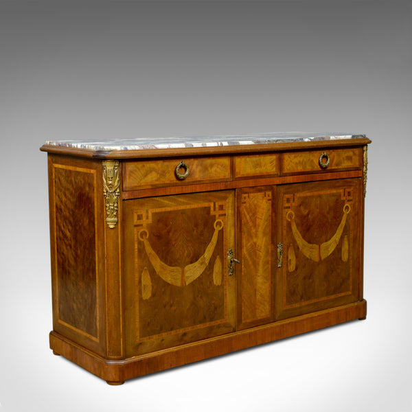 French Antique Cabinet, Empire Revival, Low, Cupboard, Marble Top, Circa 1900