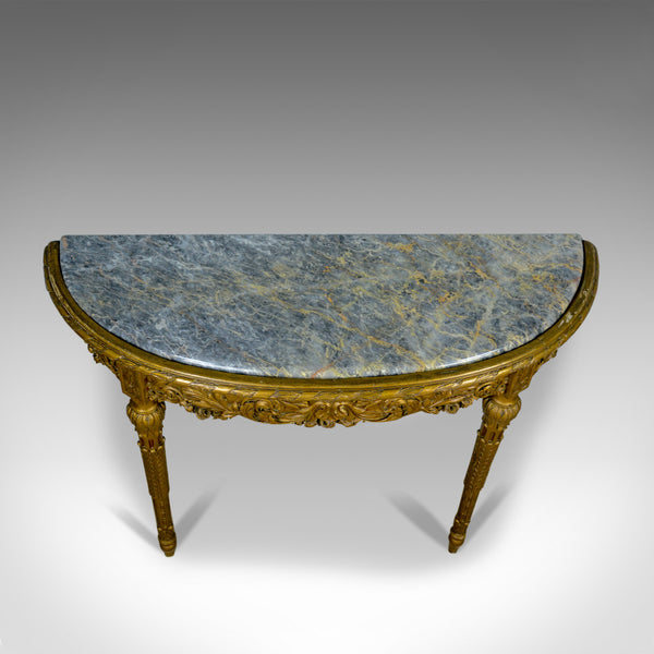 French Antique Console Table, Giltwood, Marble, Classical Revival, Pier, C.1900