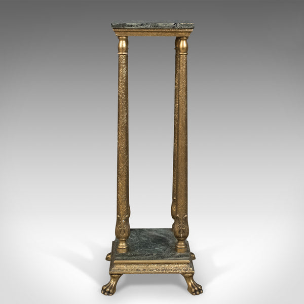 French Antique Pedestal, Marbled Plant Stand, Ormolu, Circa 1900