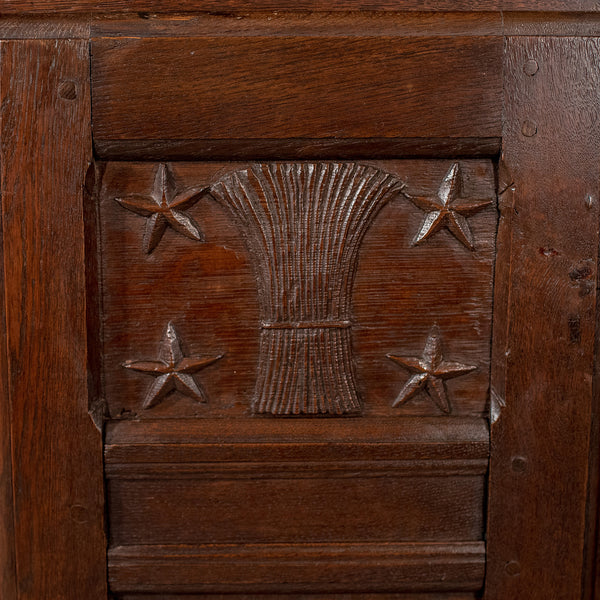 French Antique Side Cabinet, 19th Century Oak Cupboard, Circa 1900