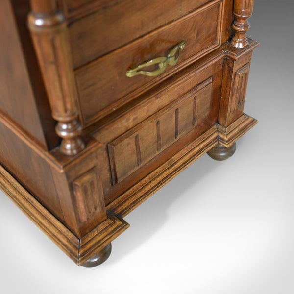 French Antique Side Cabinet, Narrow Pot Cupboard, Nightstand, Walnut, Circa 1900 - London Fine Antiques