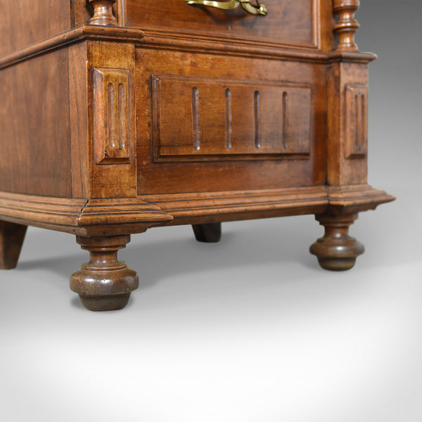 French Antique Side Cabinet, Narrow Pot Cupboard, Nightstand, Walnut, Circa 1900