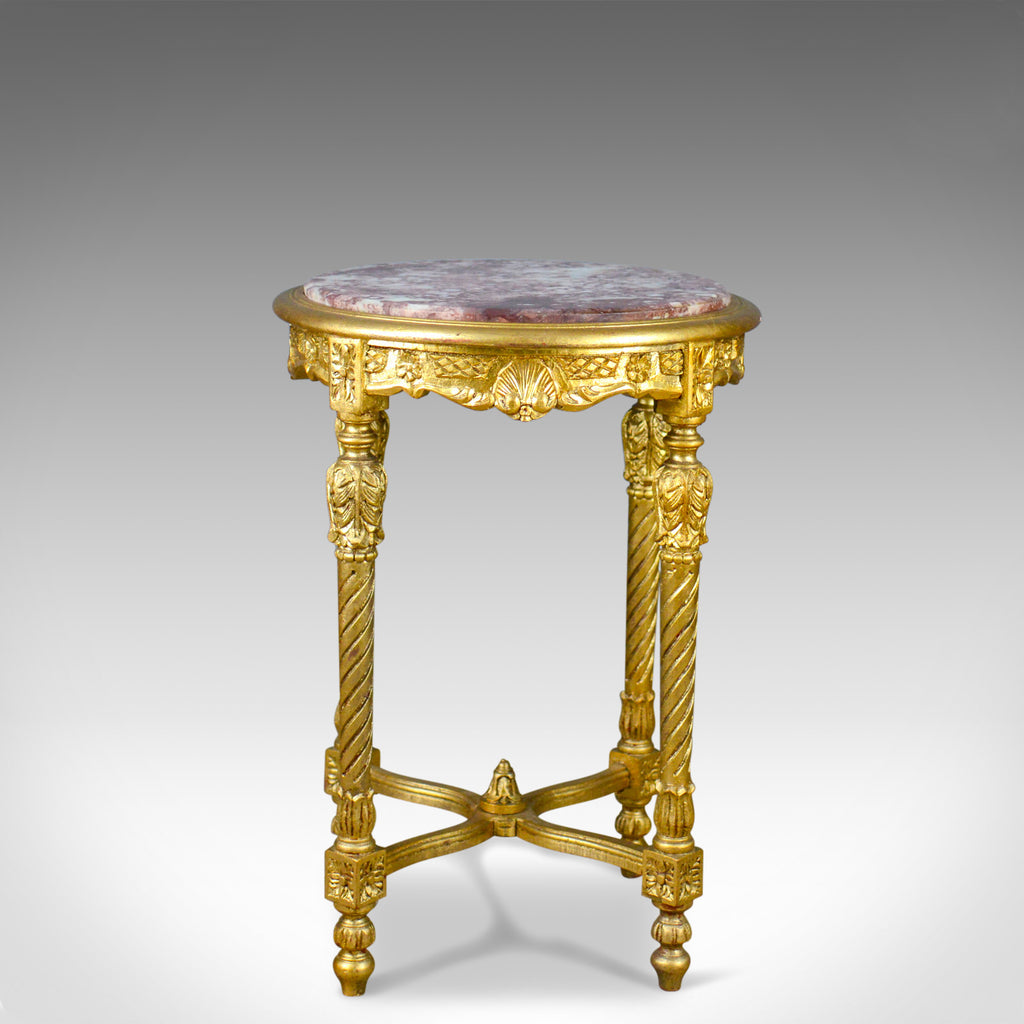 French Lamp Table, Giltwood, Marble, Classical Revival, Occasional, Side C20th - London Fine Antiques