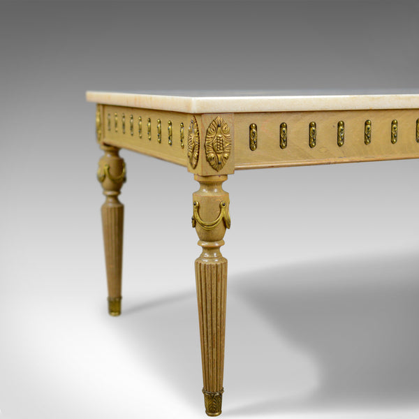 French Marble Coffee Table, Classical Taste, Hardwood, Stone, Late 20th Century