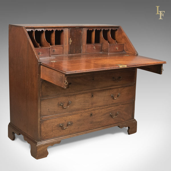 Georgian Antique Bureau, 18th Century Mahogany Desk, c.1770