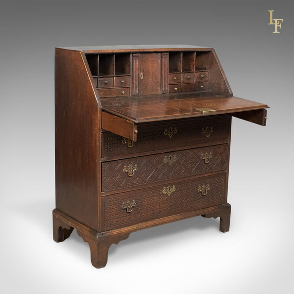 Georgian Antique Bureau, English Oak Writing Desk, c.1800 - London Fine Antiques