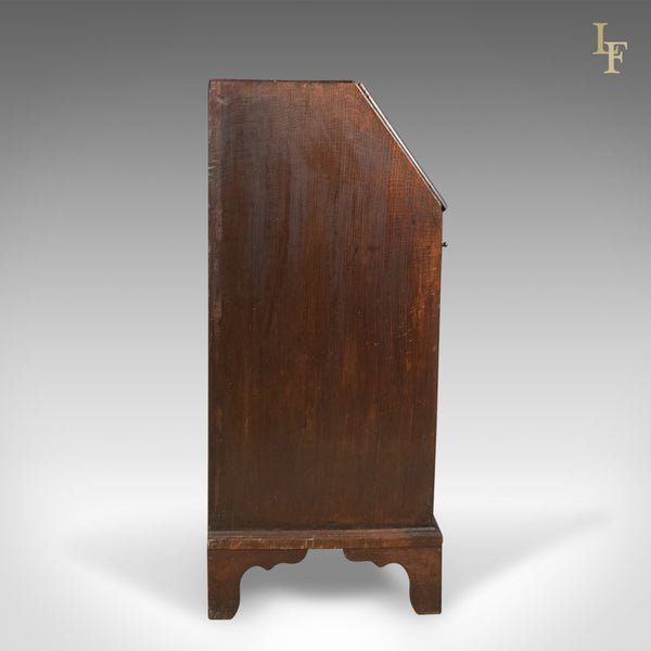Georgian Antique Bureau, English Oak Writing Desk, c.1800