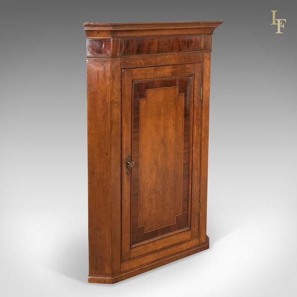Georgian Antique Corner Cabinet, Oak and Mahogany, English c.1780 - London Fine Antiques