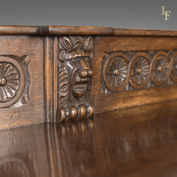 Georgian Oak Dresser Base, 18th Century English Green Man Sideboard, c.1790