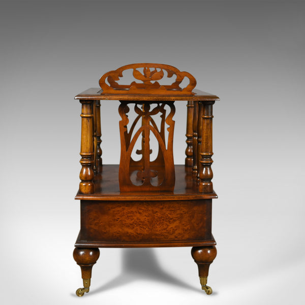 Georgian Revival Canterbury, Burr Oak, English, Magazine Rack, Late 20th Century - London Fine Antiques