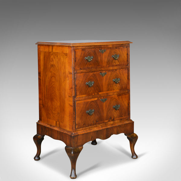 Georgian Revival Chest of Drawers on Stand, English, Walnut Cabinet, Early C20th - London Fine Antiques