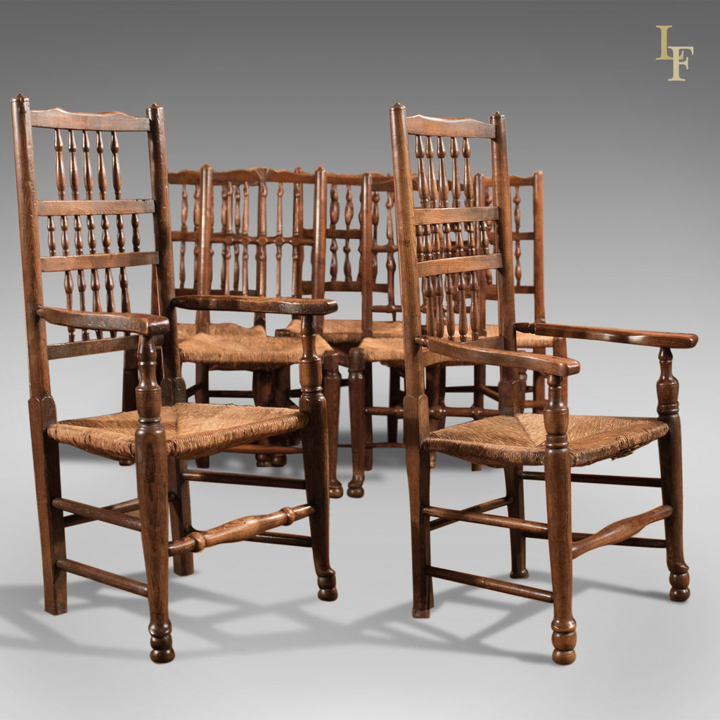 Harlequin Set of Seven Antique Spindle Back Dining Chairs c.1800 - London Fine Antiques