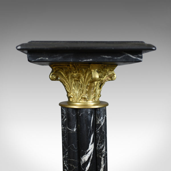 Heavy Marble and Gilt Metal Pedestal, Mid C20th Stand in the Victorian Taste