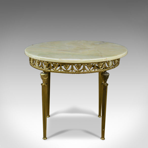 Italianate Lamp Table, Gilt Metal, Onyx, Classical Revival, Side, Late C20th