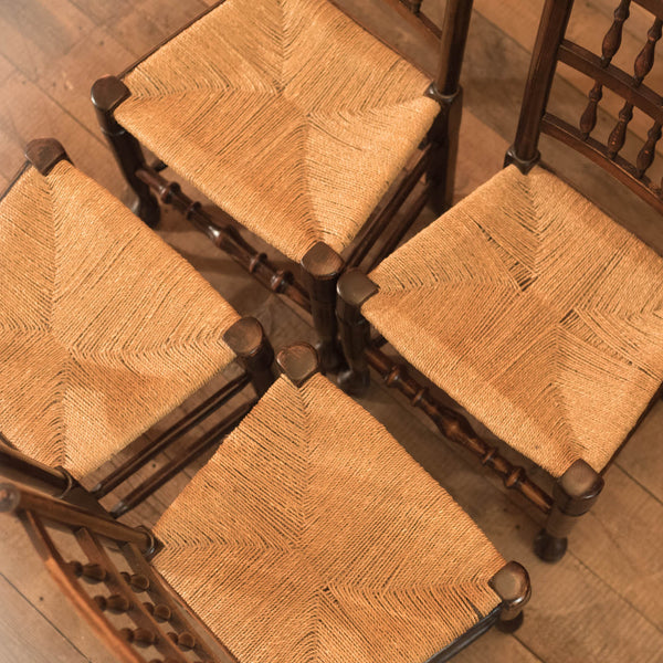Set of 4 Victorian Spindle Back Chairs, Oak c.1900 - London Fine Antiques - 2