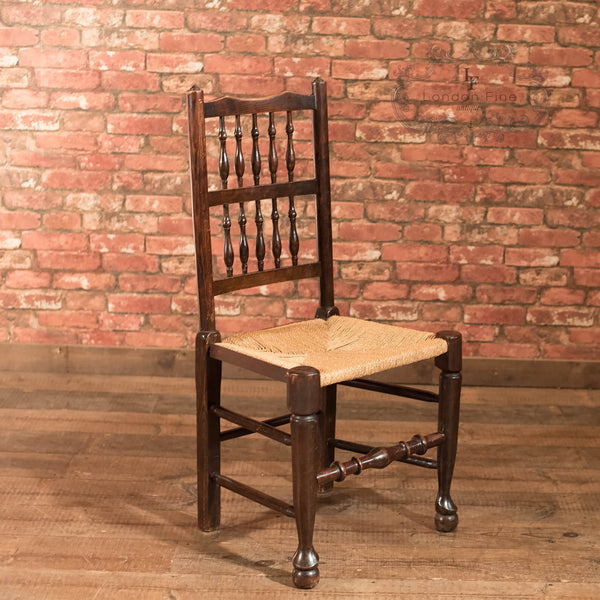 Set of 4 Victorian Spindle Back Chairs, Oak c.1900 - London Fine Antiques - 3